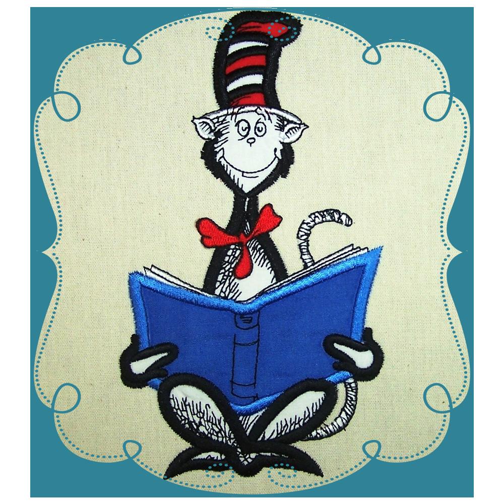 Dr Seuss Cat In The Hat Reading Book Applique Book Pillow Cat Clip Art Book Clip Art