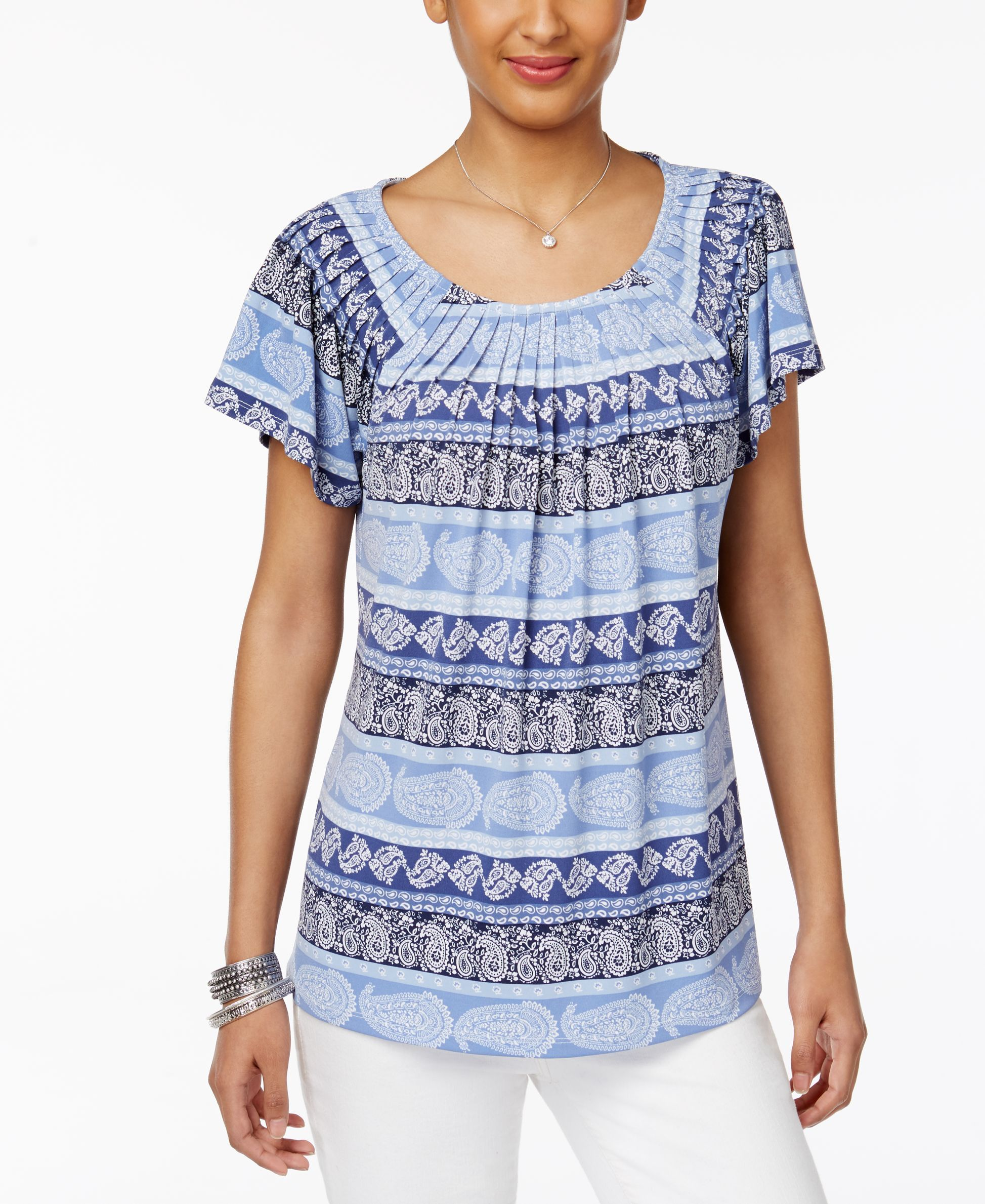 Style & Co Petite Printed Pleated-Neck Top, Only at Macy's