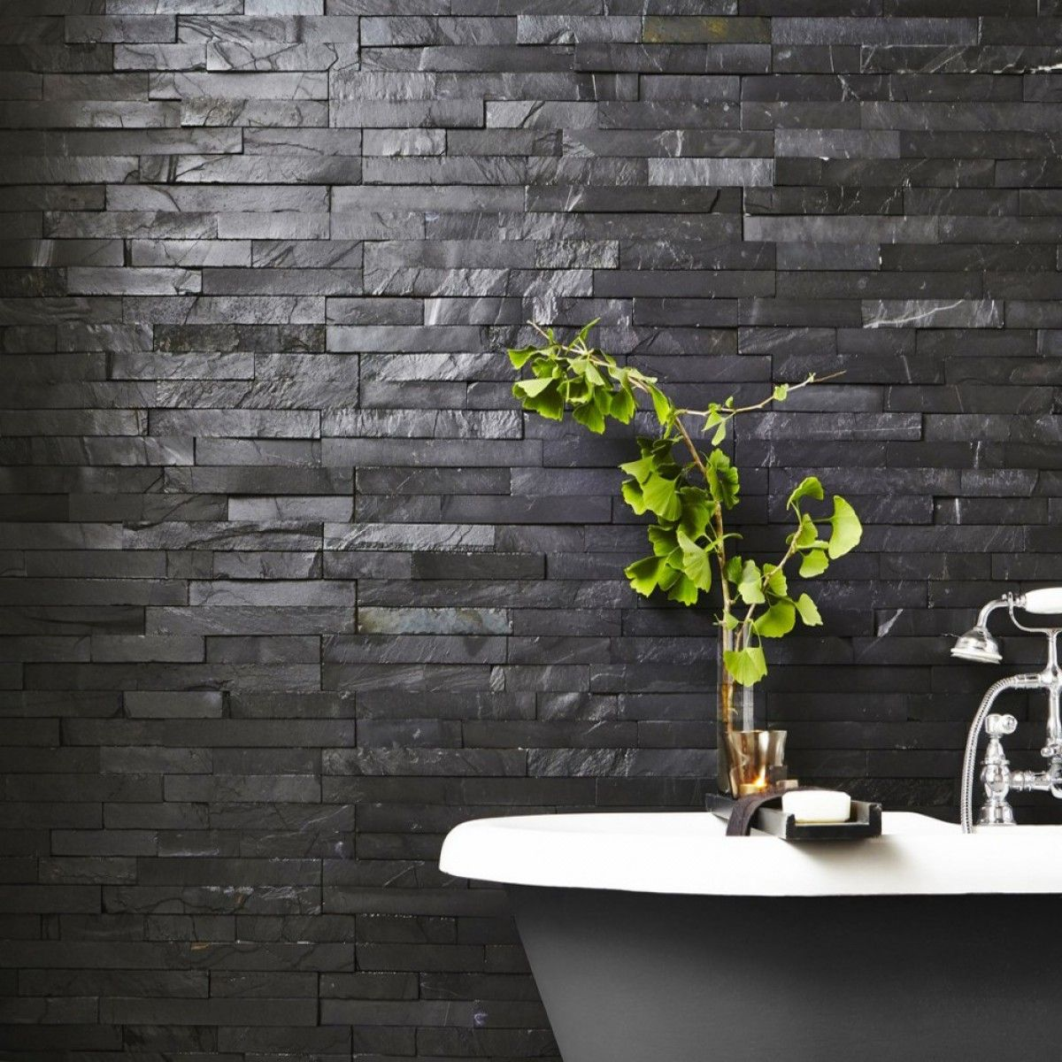 split face black slate is a matt finish mixed black coloured oblong mixed size slate wall tile ideal for fitting in the kitchen or bathrooms area giving - Slate Bathroom 2016