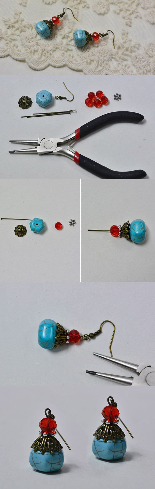 DIY a Pair of Easy Turquoise Beading Drop Earrings | jewelry ...