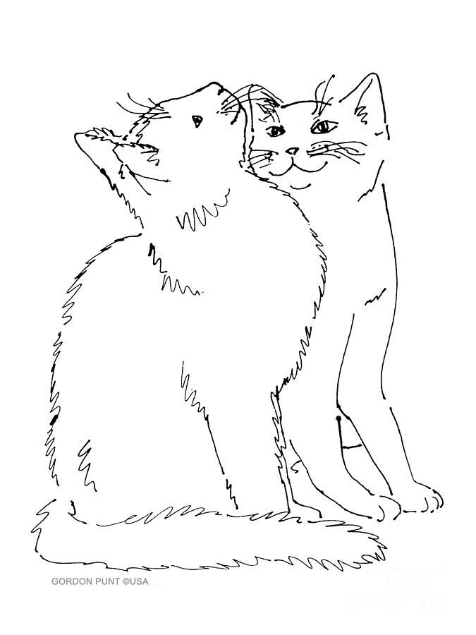 Line Art Journal : Contour line drawing with overlapping kitties art