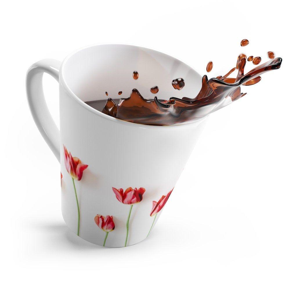 latte coffee mug | ceramic mugs | funny coffee mug | tulips floral