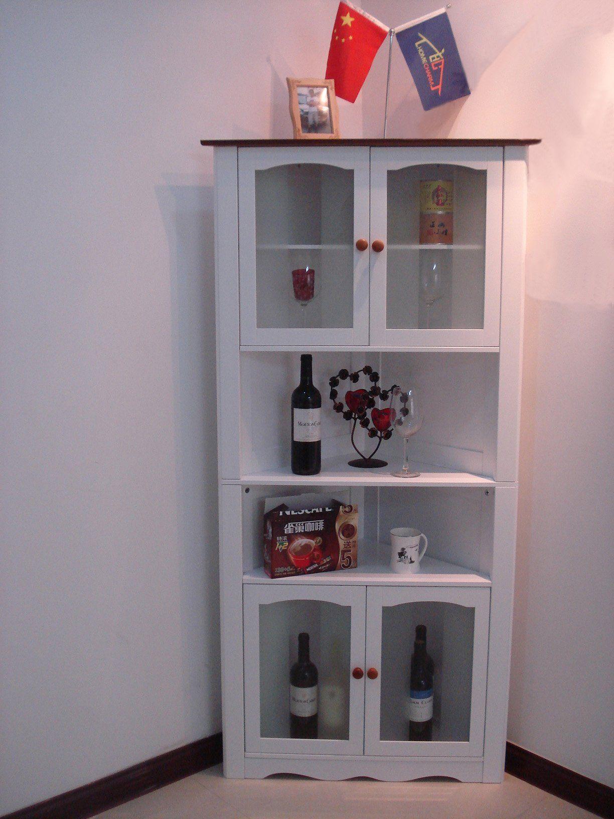 Amazon Com Wooden Corner Display Cabinet With Tempered Glass Doors 129 99 Ecke Vitrine Glasschrankturen Vitrine