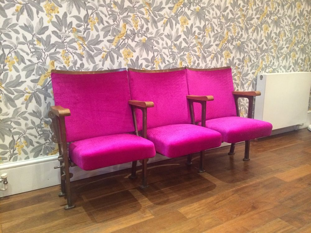 3 X Hot Pink Vintage Theatre / Cinema Seats In Antiques, Antique Furniture,  Chairs