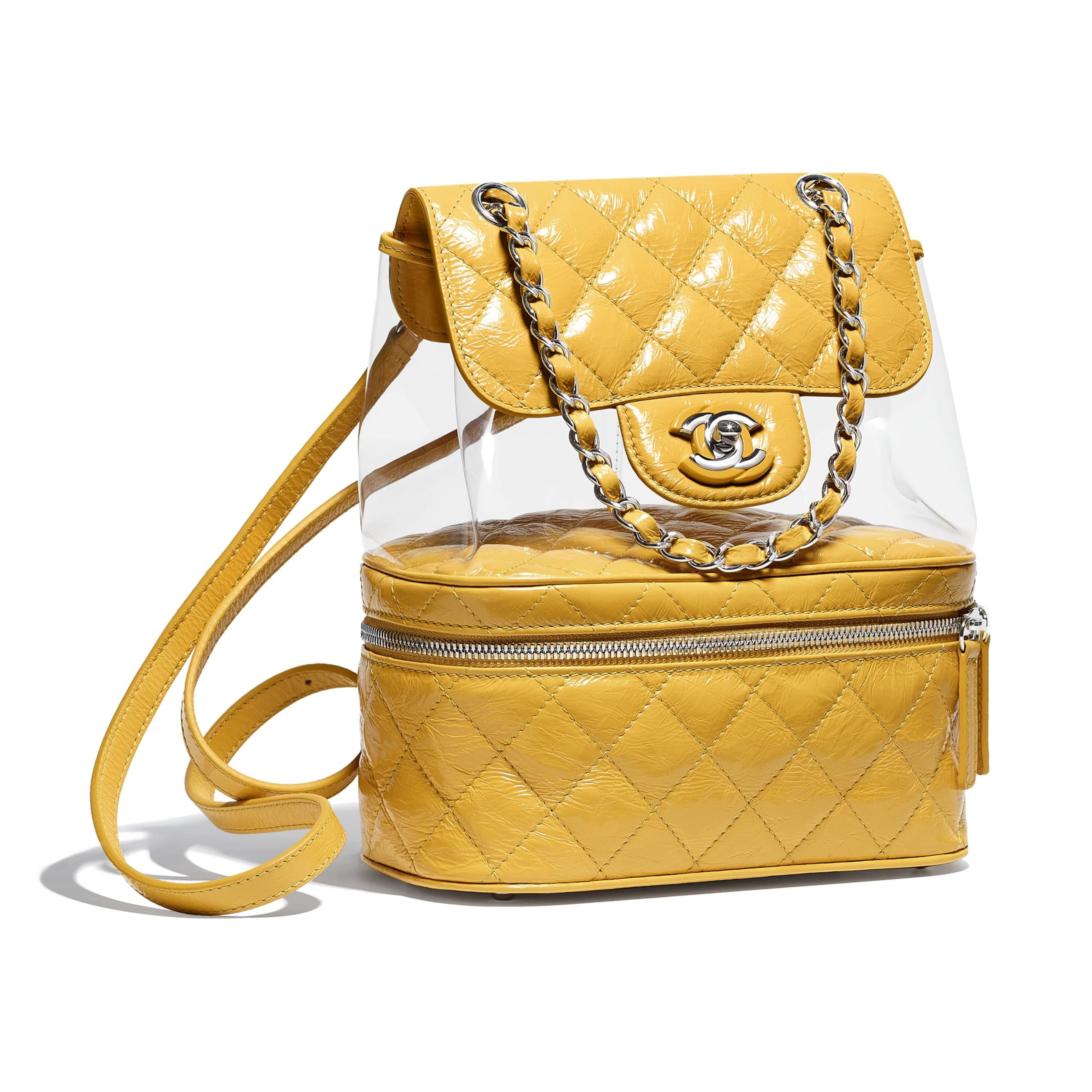 51facf7b18c0 Crumpled Calfskin, PVC, Resin & Silver-Tone Metal Yellow Backpack | CHANEL