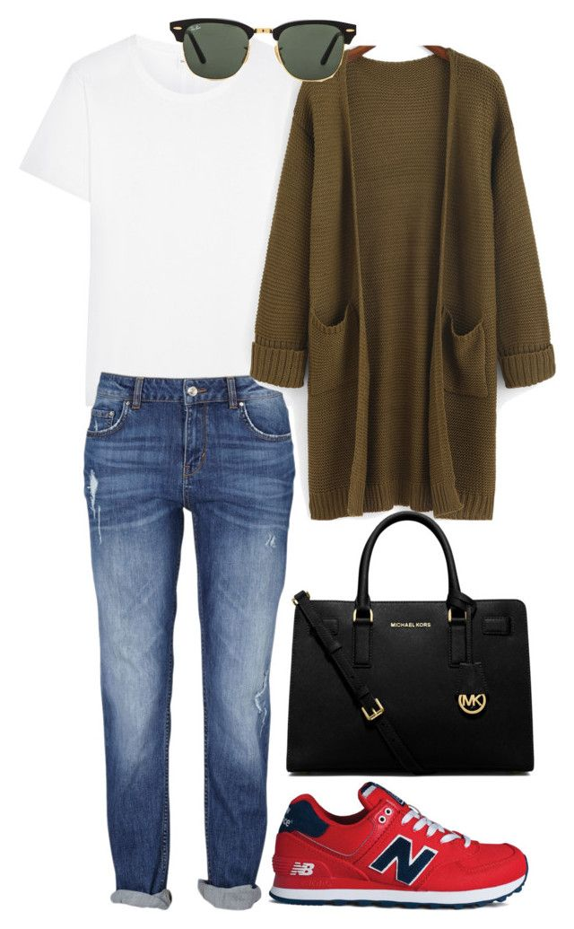 """""""Red&White"""" by svika on Polyvore featuring косметика, Yves Saint Laurent, Ray-Ban, New Balance и MICHAEL Michael Kors"""