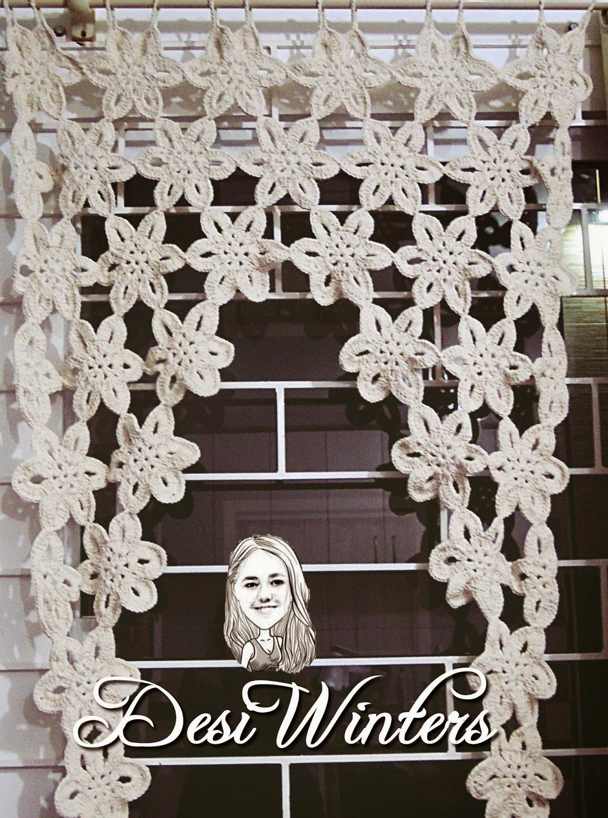Band Cortina Com Flores De Croch Crochet Crochet Curtains And