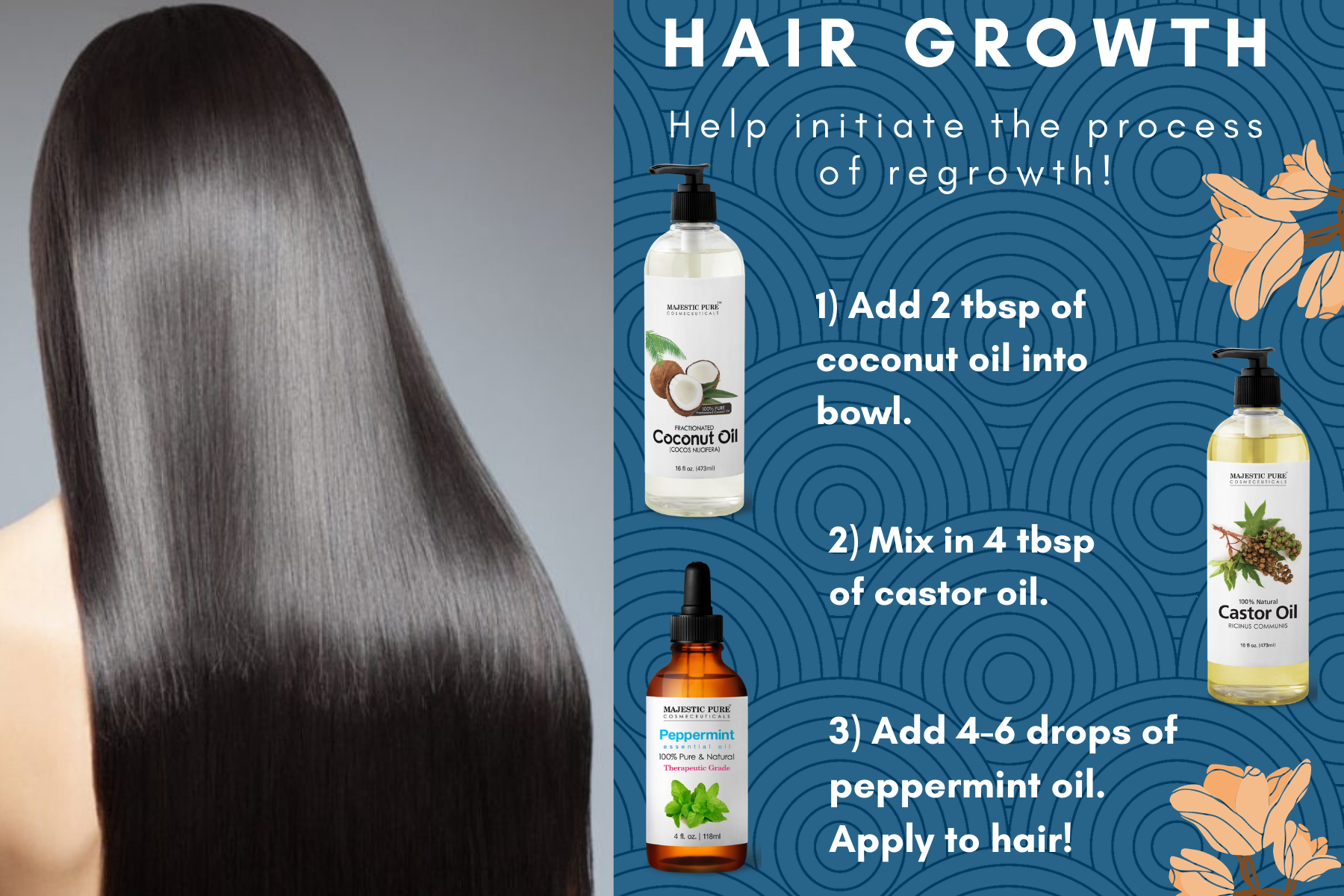 Diy All Natural Hair Growth With Fractionated Coconut Oil Castor Oil And Peppermint Oil Help Hair Growth Coconut Oil Hair Coconut Oil Hair Mask