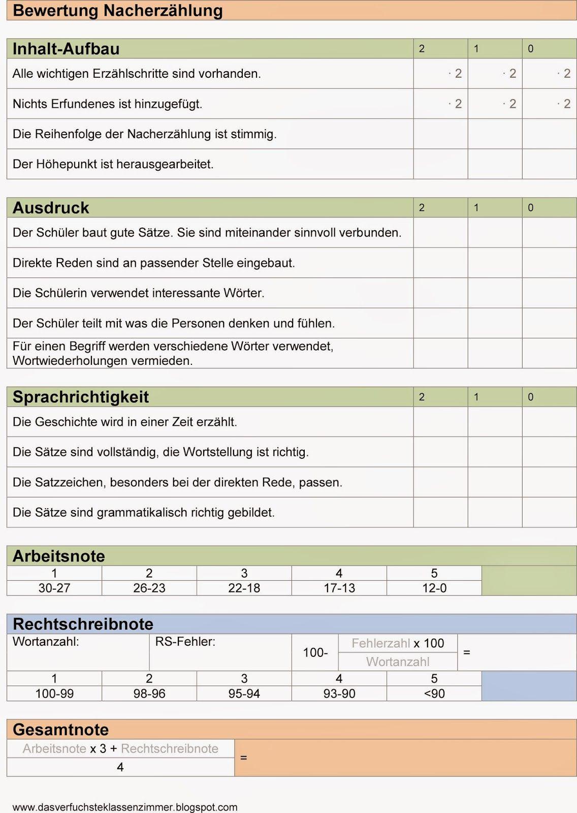 Bewertungsbogen Nacherzählung Seit meinem ersten Dienstjahr verwende ...