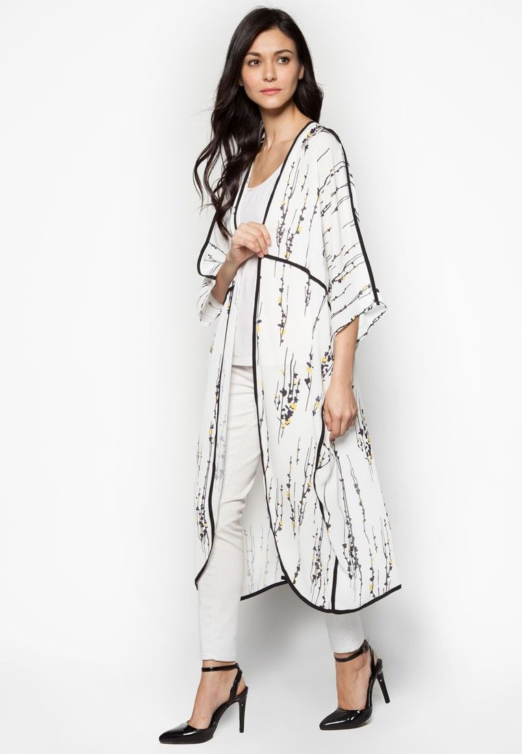 Silhouette Floral Kimono Cardigan from Zalia in white_1 | 1 LUXURY ...