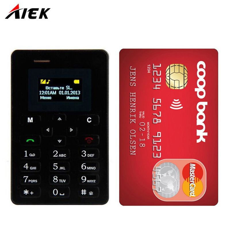 Original Ultra Thin Card Mobile Phone 4 8mm Aeku Aiek M5 Low Radiation Mini Pocket Students Personality Childn Phone Pk Phone Mobile Phone Smartphones For Sale