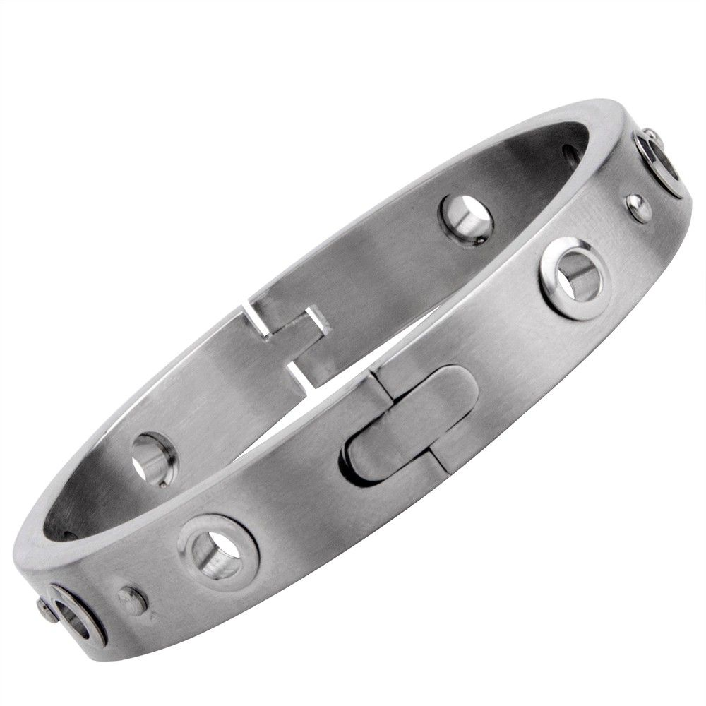 Mens stainless steel handcuff bracelet bangle cuff in silver