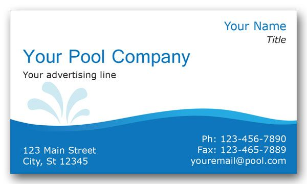 Pool Services Business Card Pool Service Services Business Pool