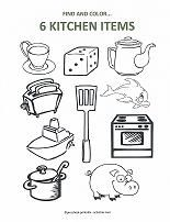 Fun Count And Color Pages For Preschoolers Kitchen ItemsKitchen