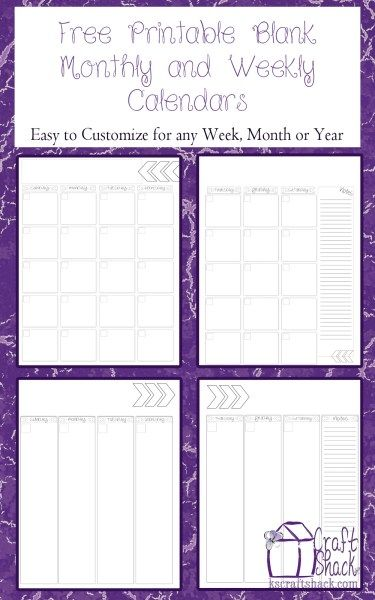 Blank Calendar Monthly  Weekly Printables in 2018 Binder planner