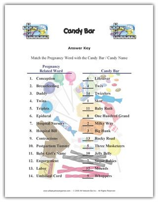 Dramatic image with candy bar baby shower game free printable