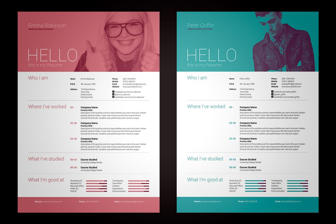 My Resume V1 *UPDATED* Now Includes Microsoft Word Versions! International A4 & US Letter Sizes