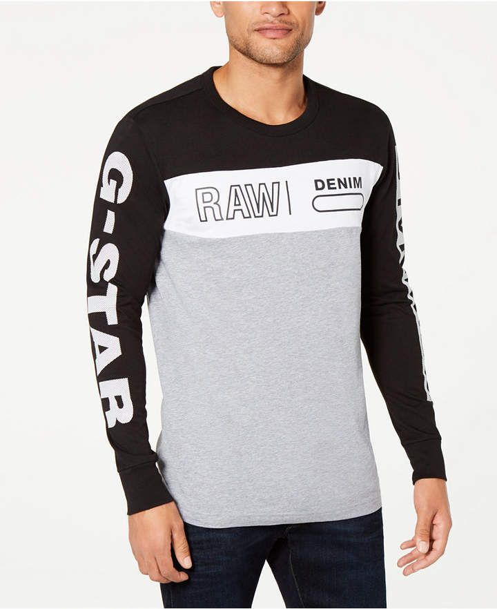G Star Raw Men's Colorblocked Long Sleeve T Shirt, Created
