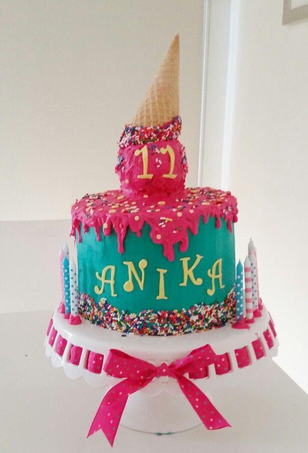 Peachy Melting Ice Cream Cake For 11 Year Old Cute Birthday Cakes Cool Funny Birthday Cards Online Elaedamsfinfo