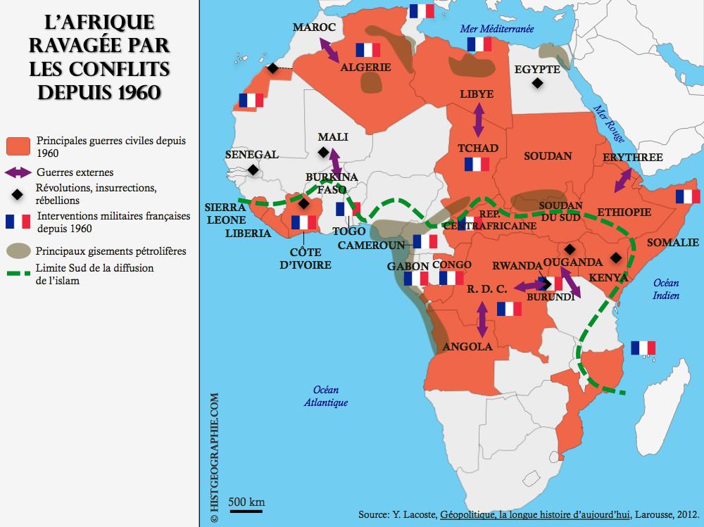 Map Of Africa 1960.Carte De L Afrique Ravagee Par Les Conflits Depuis 1960 Source