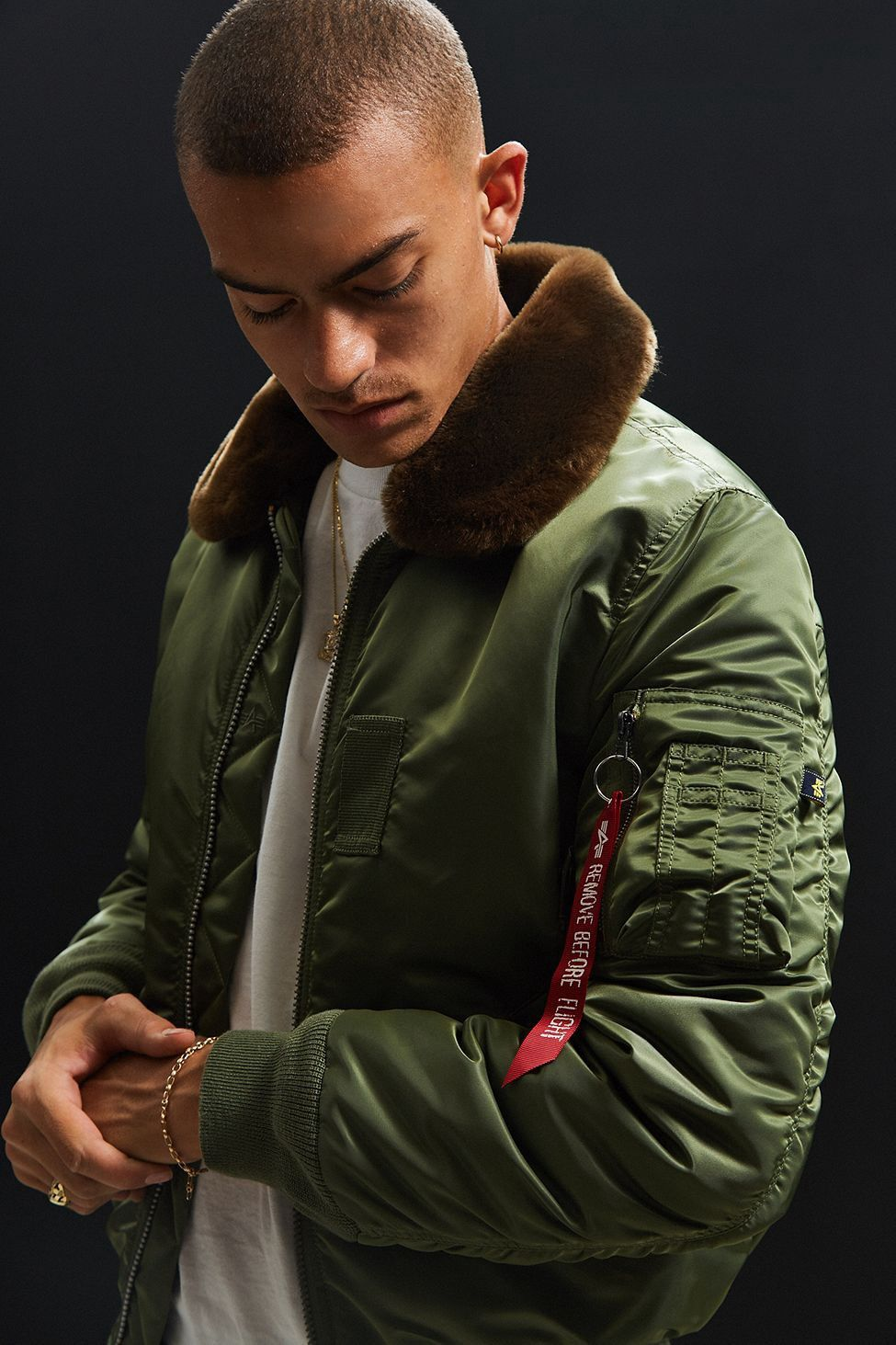 7b24f26a64f Urban Outfitters Alpha Industries B-15 Slim-Fit Bomber Jacket - Green S