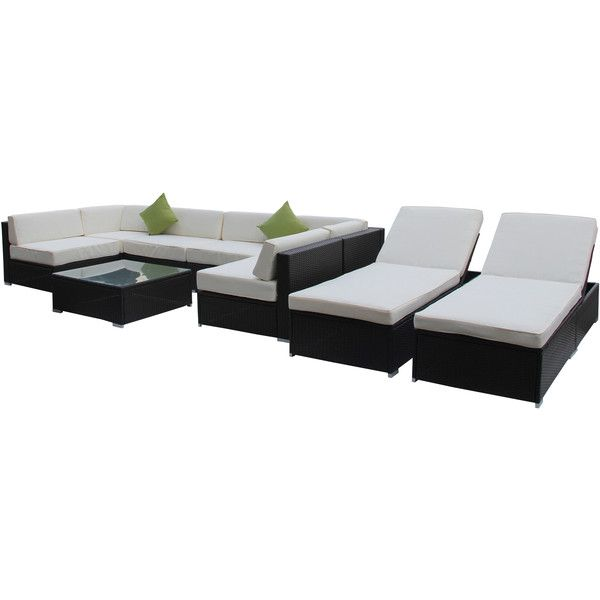 Broyerk 9 Piece Outdoor Rattan Patio Lounge Furniture Set 1 638 Liked On Polyvore Featuring Ho Patio Lounge Furniture Patio Furniture Deals Furniture Sets