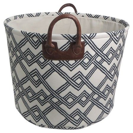 Laundry Bag Target Round Fabric Basket With Handles  White With Geometric Pattern