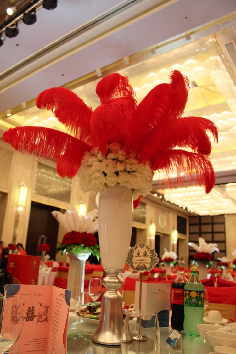 diy ostrich feathers plume centerpiece weddings party table hot