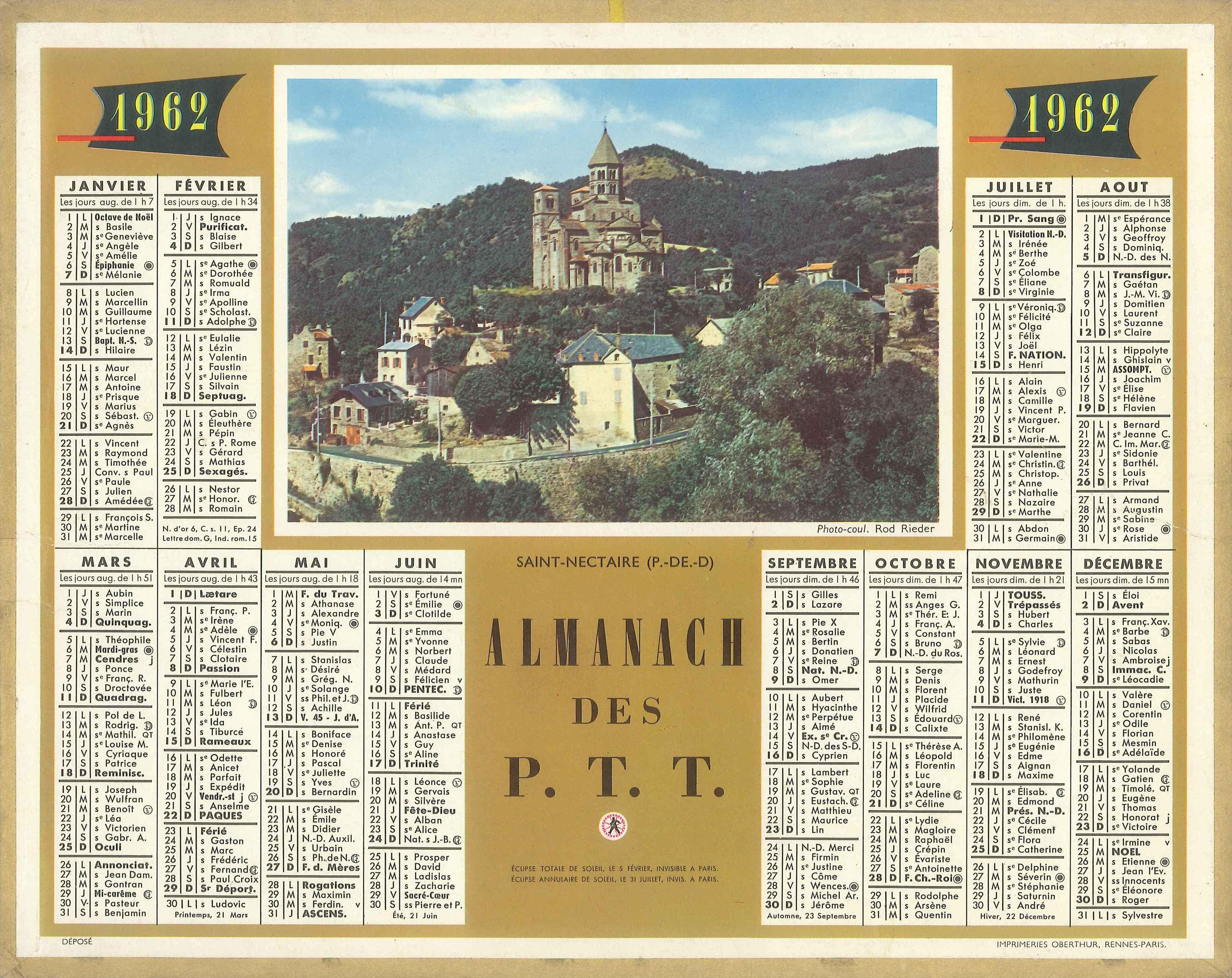 Almanach des Postes 1962