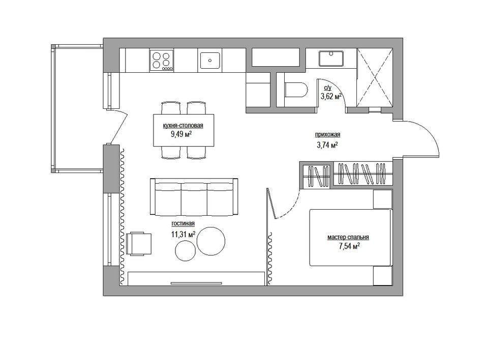 26677ac0bd1dc Однокомнатная квартира 38 кв. м. с стеклянной спальней - Дизайн интерьеров    Идеи вашего дома   Lodgers