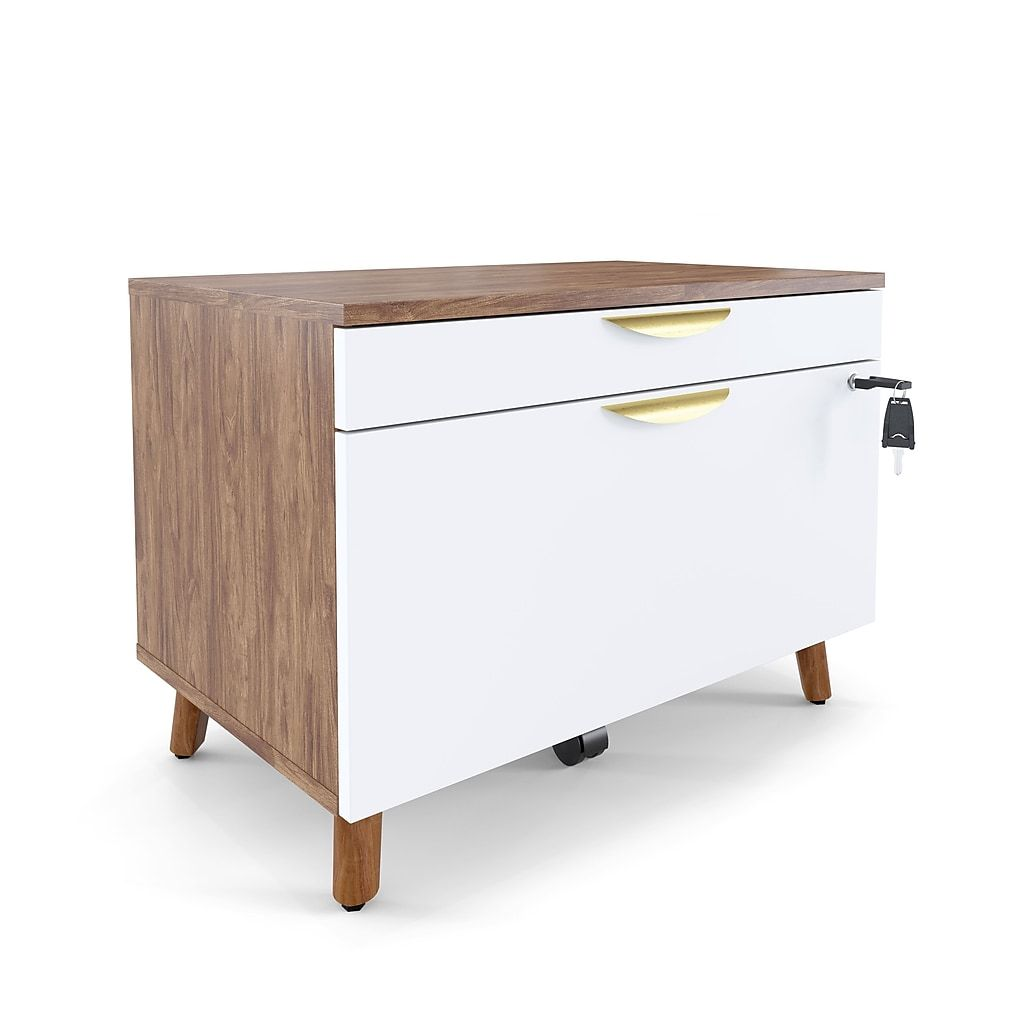 Midmod 2 Drawer Lateral File Cabinet Locking Letter Legal White Espresso 29 Un56967 At Staples In 2020 Filing Cabinet Storage Lateral File Cabinet Home Office Filing Cabinet