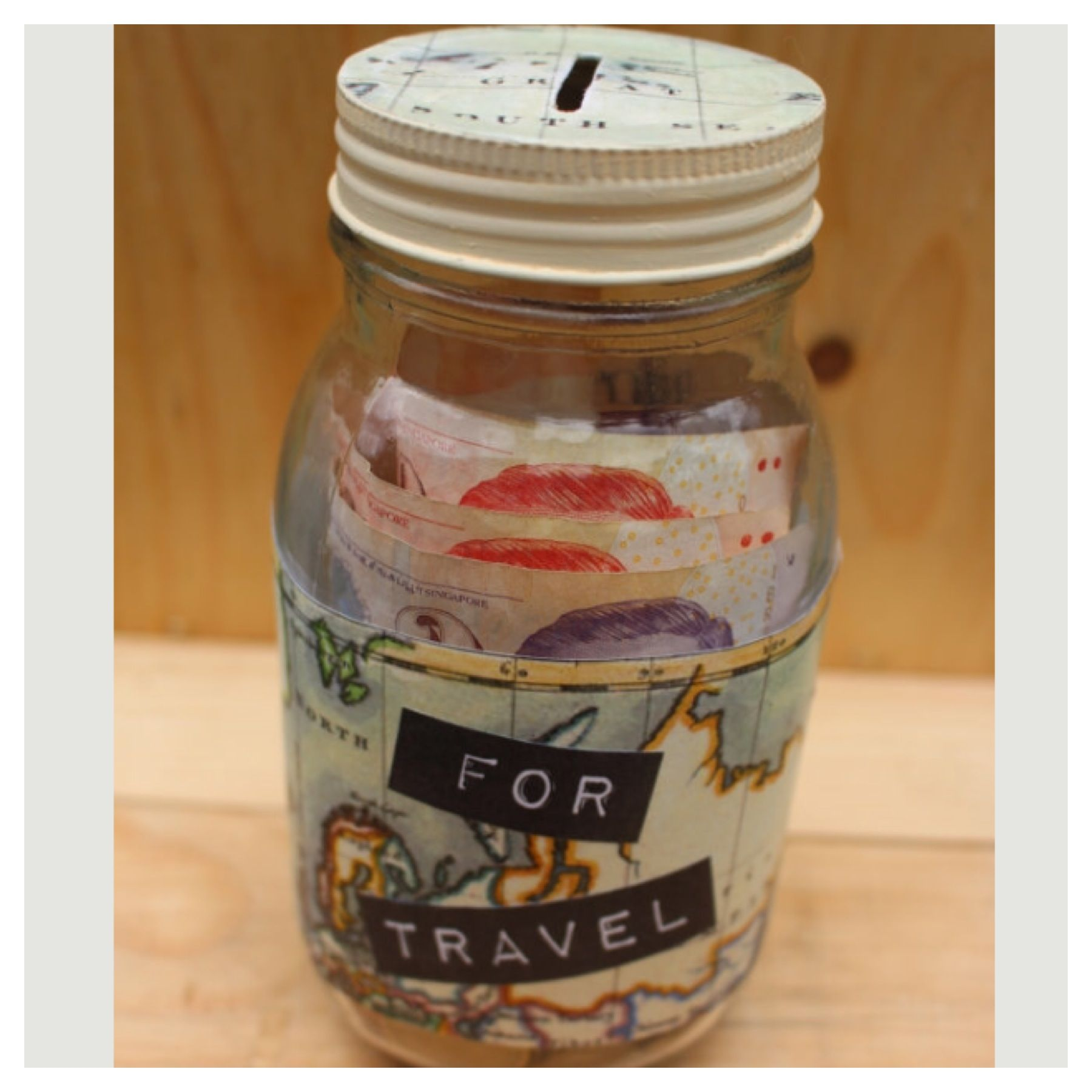 For travel glass money jar travel adventure savings for Cool money jars