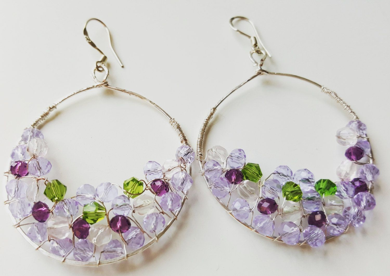 Modern, Delicate, Crystal Statement Earrings. Hoop earrings. Trendy earrings.  Christmas gift. For Her. by SolCreationsStore on Etsy