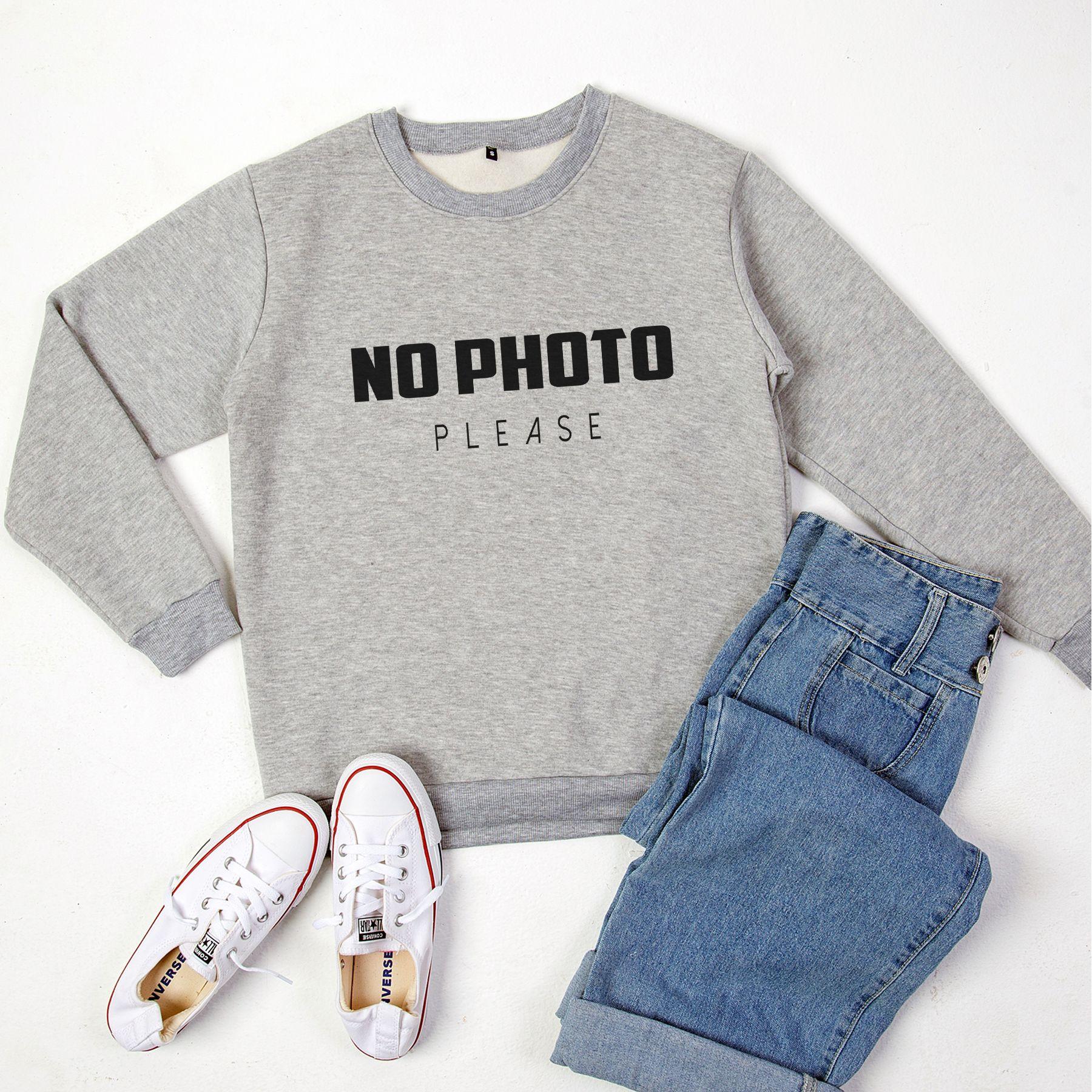 No Photo Please Funny Saying Sweatshirt Women Tumblr Shirt For Etsy Crewneck Sweatshirt Women Sweatshirts Women Womens Crewneck [ 1800 x 1800 Pixel ]