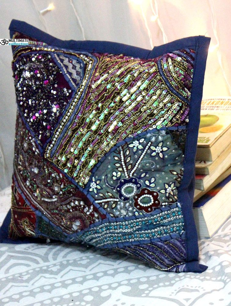 The Traditional Beaded Patchworked Embroidery Makes This Beautiful Cushion Cover Extraordinary Decorative Pillow