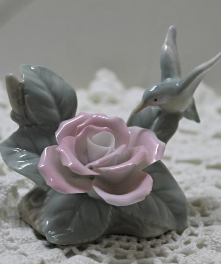 Vintage Porcelain Rose With Hummingbird Figurine