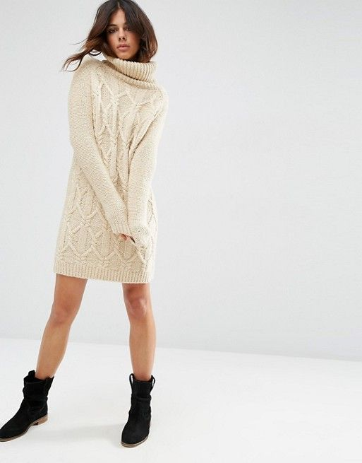 Fashion · ASOS | ASOS Sweater Dress in Cable Stitch with Roll Neck