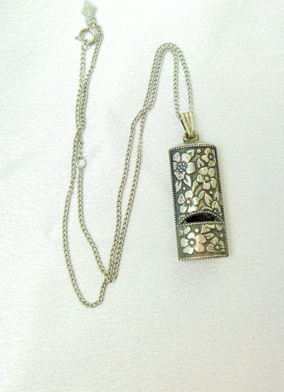 3c0523c6d Vintage AVON Whistle Necklace Silver Flower |