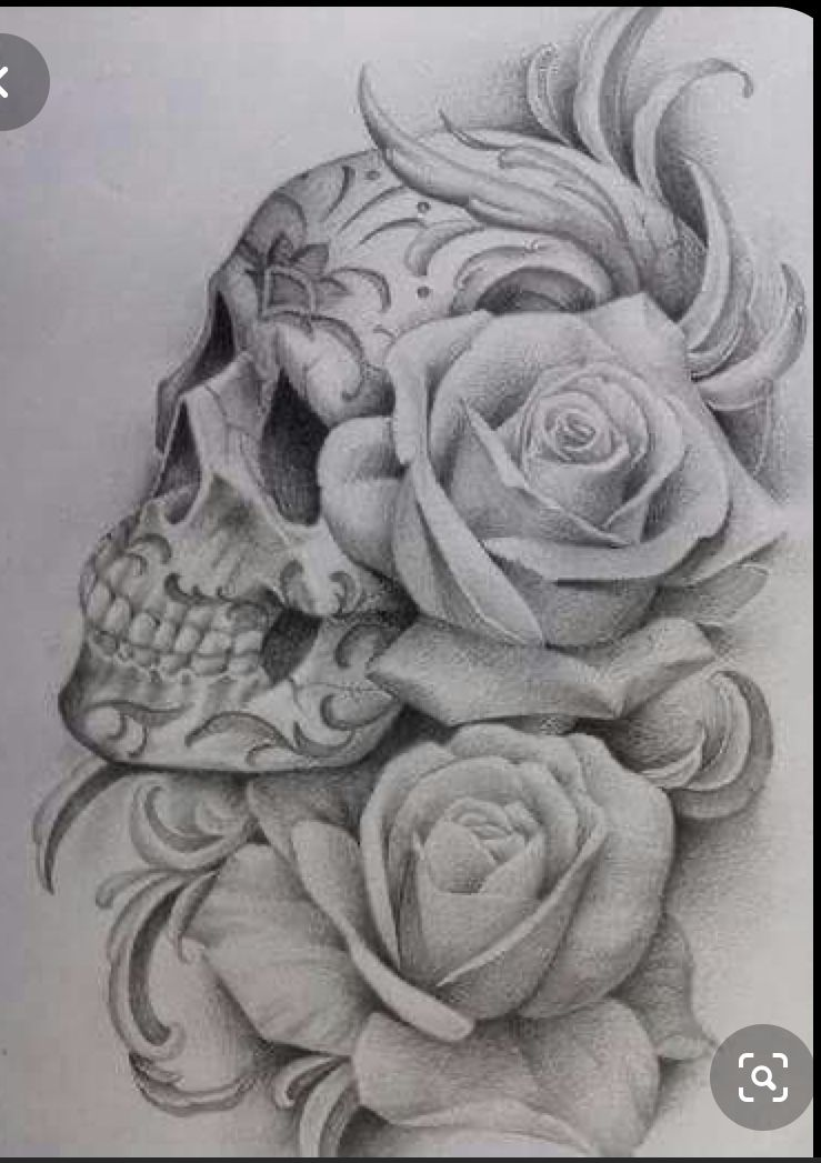 Pin By Ashley Duffin On Tattoo Ideas In 2020 Skull Rose Tattoos Rose Tattoos Skull Tattoo Flowers