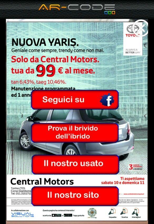 Central motors concessionaria ufficiale Toyota di Torino, usa la realta aumentata di ar-code by Seac02 per rendere interattive le sue campagne pubblicitarie.