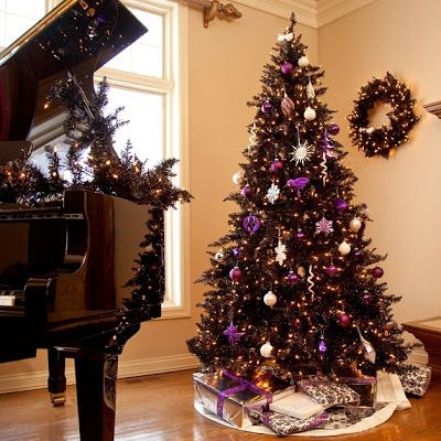 black christmas tree nature inspired tinsel purple tree decorated non - Black Christmas Tree With Purple Decorations
