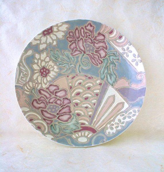 Vintage Japanese Serving Plate Toyo Porcelain Garden Fan Motif #dishware