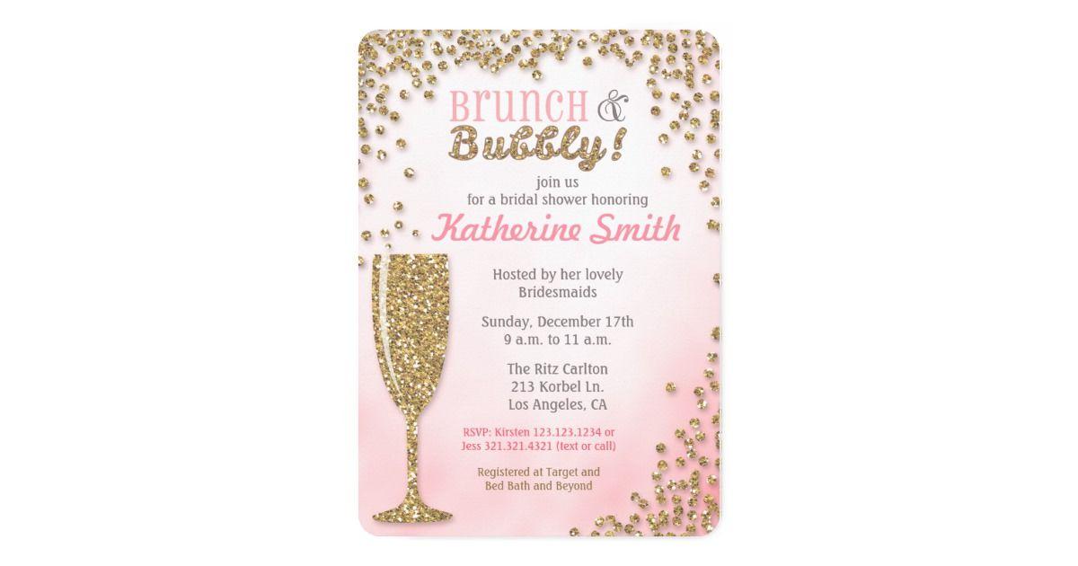 fad71f0c196d Brunch and Bubbly Bridal Shower Glitter Invitation