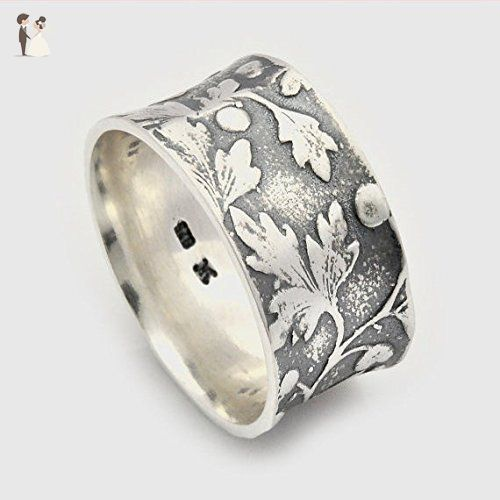 Handmade Sterling Silver Concave Leaf motif alternative Wedding Ring