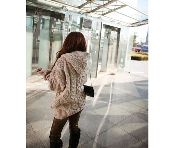 Lazy Style Hooded Long Sleeves Solid Color Cable Knit Loose Fit ...