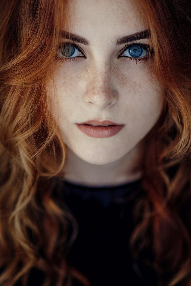 Photography Faces Freckles Red Hair Woman Portrait