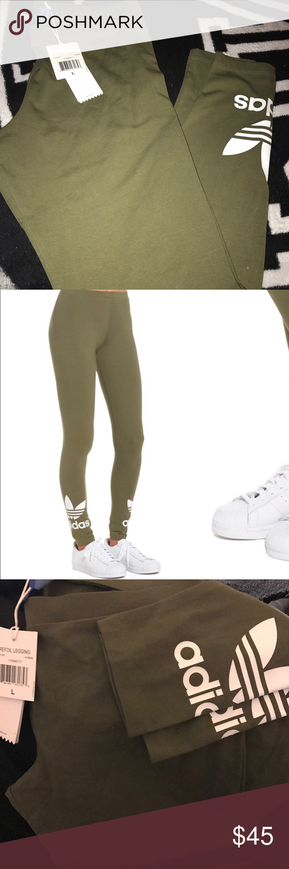f09cdb47a3457 Adidas Olive Trefoil Leggings (L) Brand new. Selling because it's the wrong  size