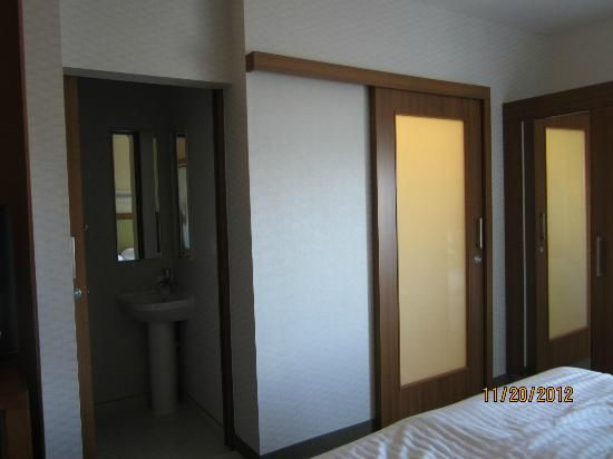 Frosted bathroom doors slides on outside fairly heavy Springhill Suites \ barn door\  FSB & Frosted bathroom doors slides on outside fairly heavy Springhill ...