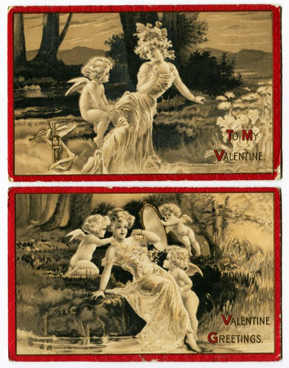 Antique 2 Valentine Postcards Idyles Circa 1912 by TheRealmCollectibles, $24.99