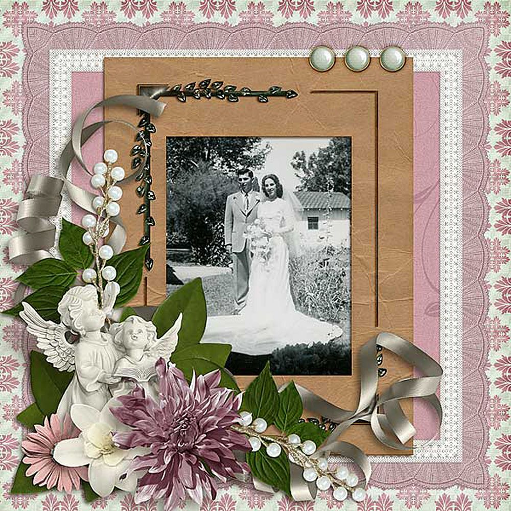 This page was made with Say it Softly, a gorgeous vintage kit by Prairie Song Scraps.  It's perfect for a feminine flair for current photos too.
